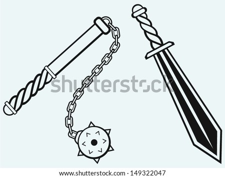 sword and mace isolated on blue