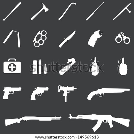 vector set of 21 white weapon