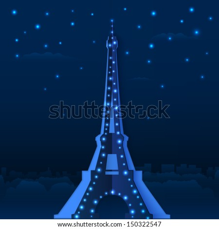 blue cutout paper night eiffel