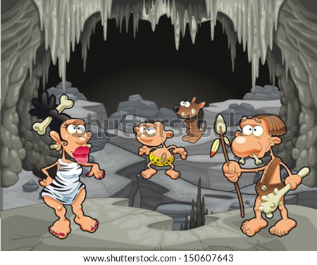 funny prehistoric family in the