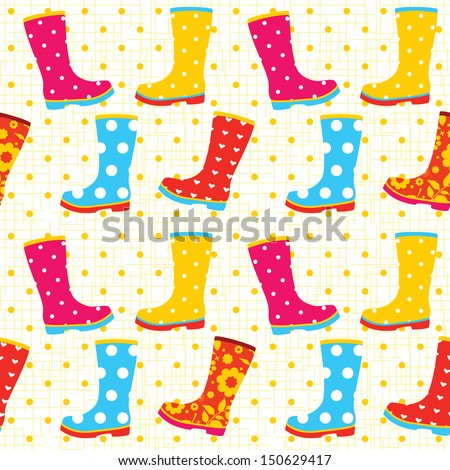 colorful rubber boots seamless