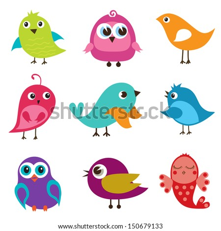 set of cute multicolored birds