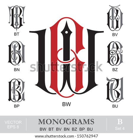 vintage monograms bw bt bv bn