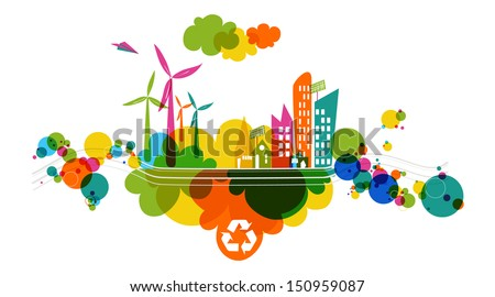 go green colorful city
