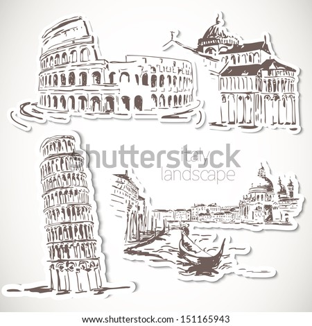italy  hand drawn landscape in
