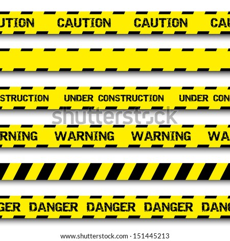set of warning tapes isolated