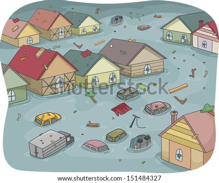 illustration of a flooded city