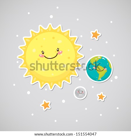 cute space  earth  sun  moon