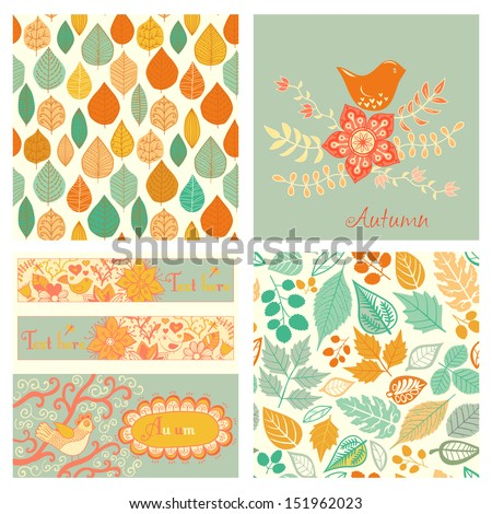 vector autumn set  seamless