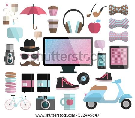 hipster design flat elements