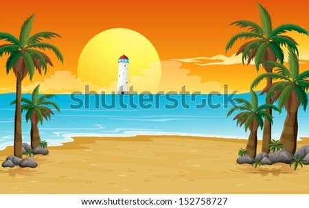 illustration of a quiet beach