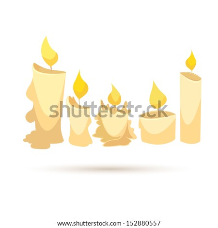 candle set isolated on a white
