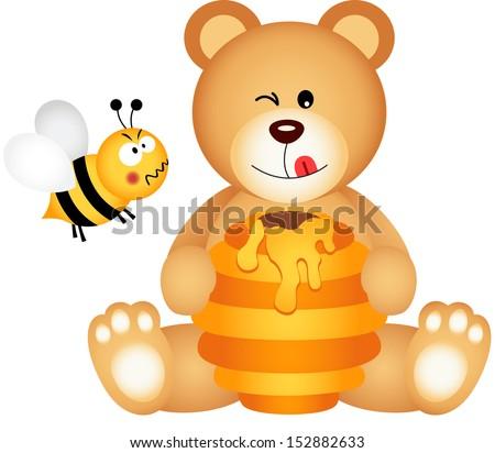 teddy bear eats honey and bee