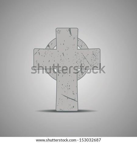 stone celtic cross vector