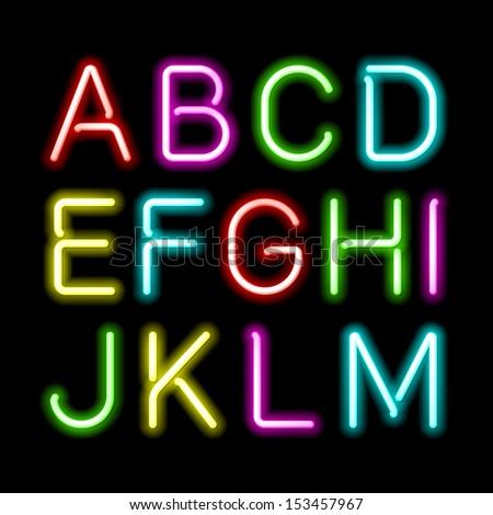 neon glow alphabet vector