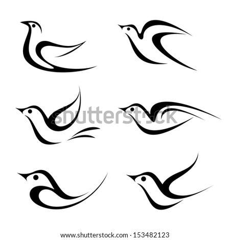 bird vector icon set isolated