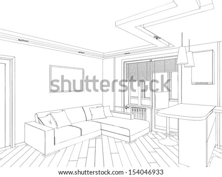 modern interior hand drawing