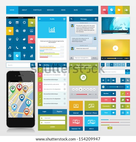 flat icons and ui web elements