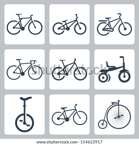vector isolated bicycles icons