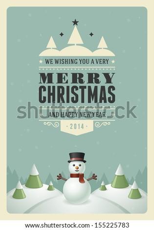 merry christmas postcard with