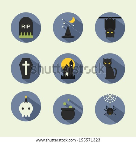 halloween flat icons  vector