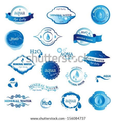 water  drop labels and icons