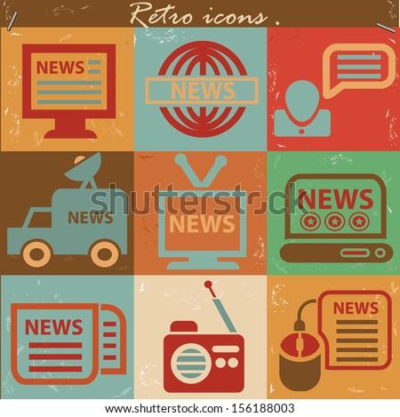 news icon set vintage style