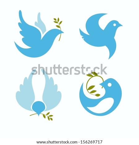 set of vector symbols dove of