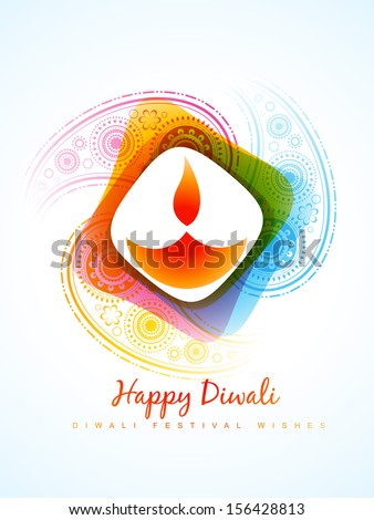 vector colorful diwali diya