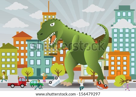 dinosaur is attacking the city