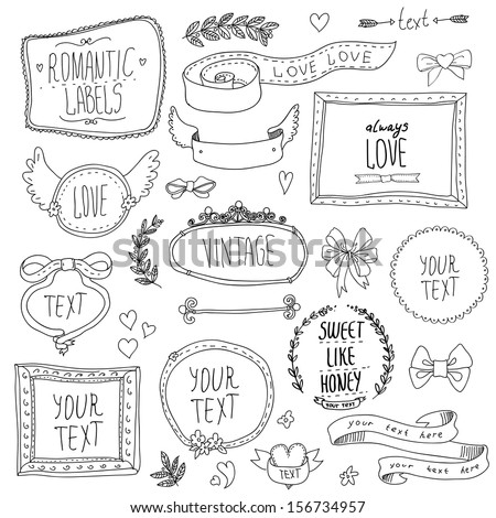 vintage label set  hand drawn