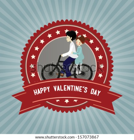 vector romantic couple on bike
