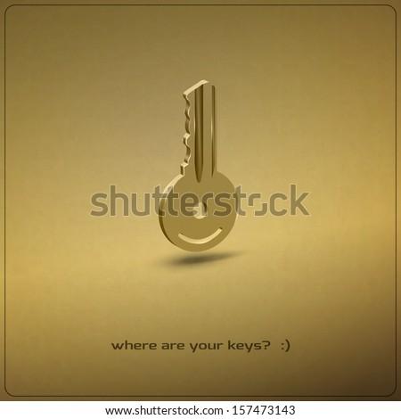 new golden key realistic icon