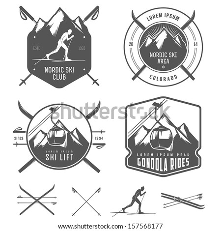 set of nordic skiing design