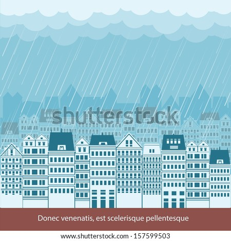 raining in cityscape background