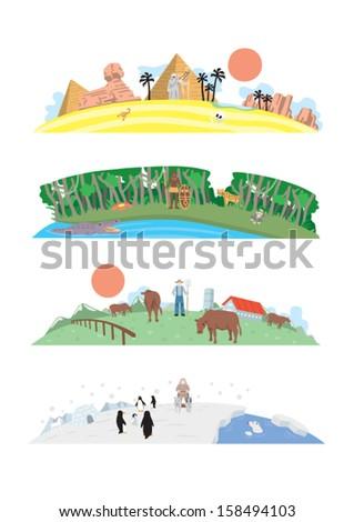 vector illustrations   four