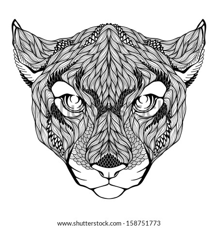 puma head tattoo vector