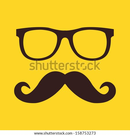 vector mustache and glasses icon