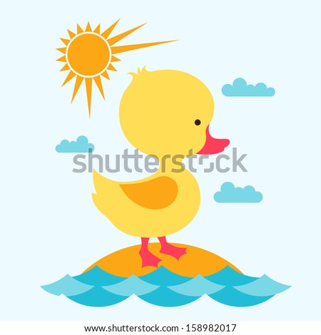 little cute baby duck at sea