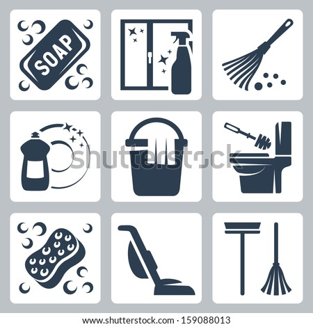 vector cleaning icons set  soap