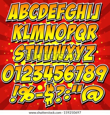 comics style alphabet
