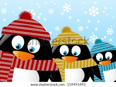 cute penguins on winter