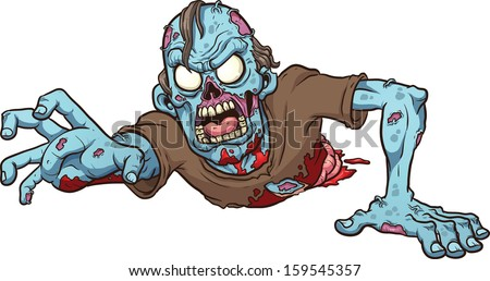 cartoon crawling zombie vector