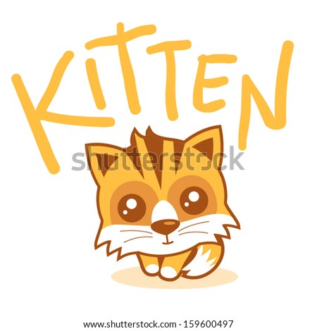 funny kitten vector illustration