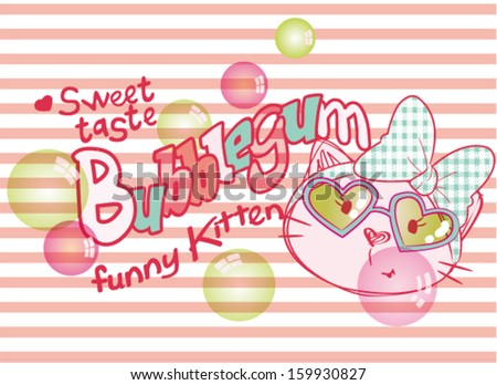 kitten with  chewing gum