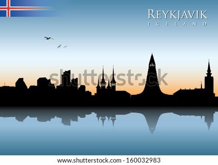 reykjavik skyline   vector