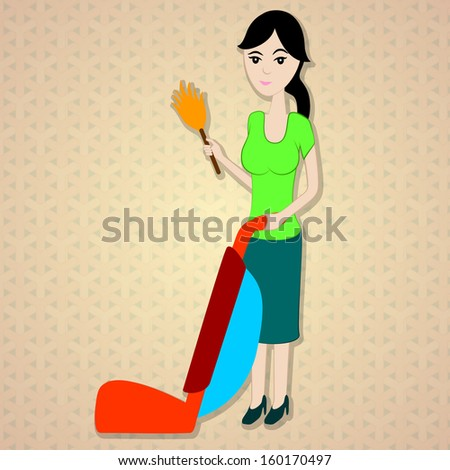 woman with a vacuum cleaner and