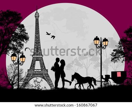 carriage and lovers at night in