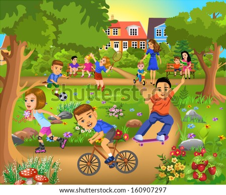 children having fun in the park