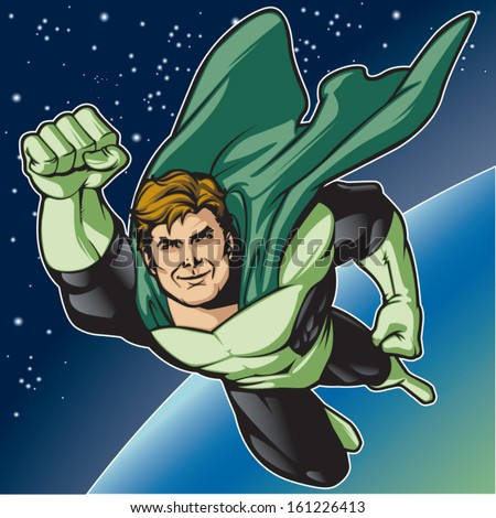 generic superhero figure flying